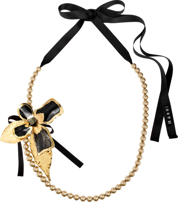 Marni 22-karat gold-dipped flower necklace