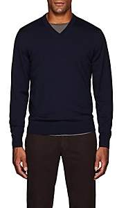 Luciano Barbera Men's Wool V-Neck Sweater - Navy