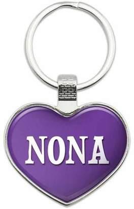 No-Nà Generic Nona - Names Female Metal Heart Keychain Key Chain Ring, Purple