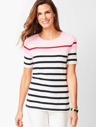 Talbots Cotton Crewneck Tee - Multi-Color Stripe