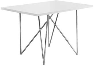 Monarch Specialties Monarch Dining Table in White and Chrome
