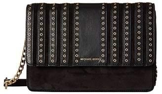 MICHAEL Michael Kors Michael Kors Womens Brooklyn Leather Mixed Media Crossbody Handbag Small