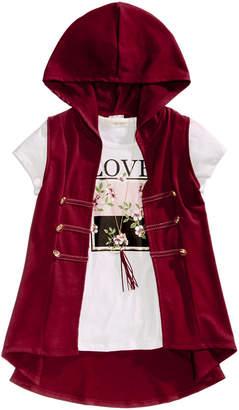 Self Esteem Big Girls 3-Pc. Hooded Vest, T-Shirt & Necklace Set