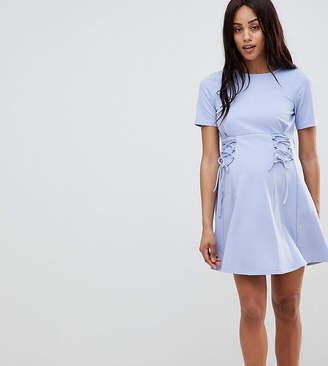 Asos PETITE Lace Up Front Mini Skater Dress