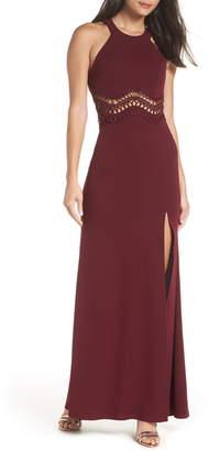 8ec5c15e9d Sequin Hearts Front Slit Scuba Crepe Gown