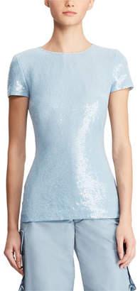 Ralph Lauren Adreanna Short-Sleeve Beaded Sequin Top