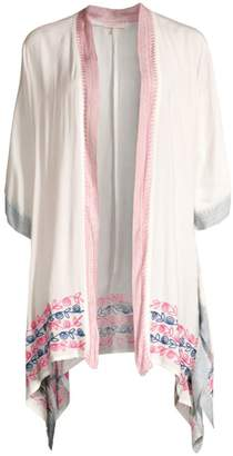 OndadeMar Embroidered & Contrast Trim Coverup