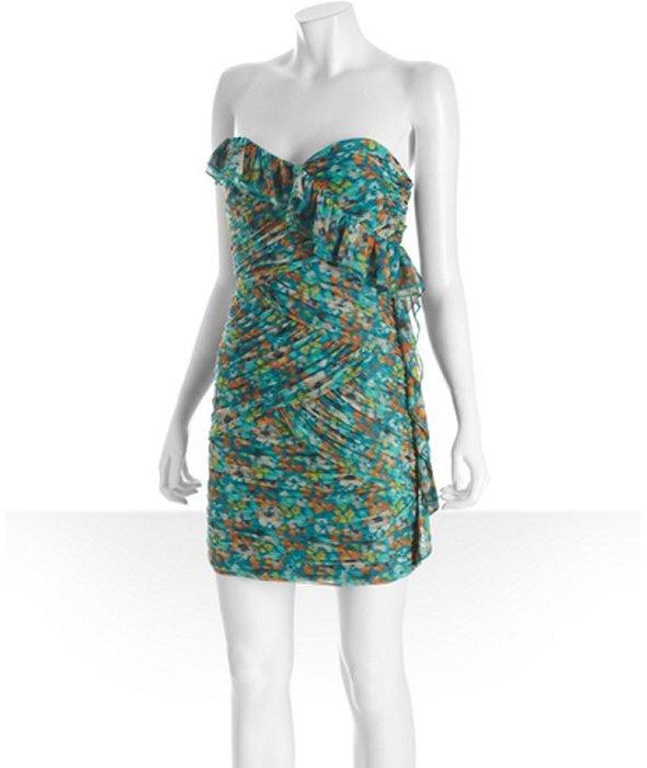 Max & Cleo sea green printed chiffon ruffle strapless 'Keegan' dress
