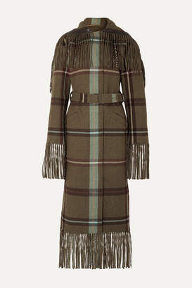 Salvatore Ferragamo Belted Fringed Checked Flannel Coat - Army green