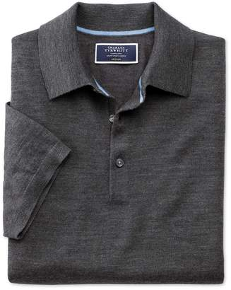 Charles Tyrwhitt Charcoal Merino Wool Polo Collar Short Sleeve Sweater Size Small
