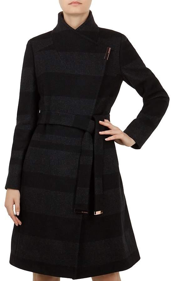 Ted Baker Narrla Striped Wrap Coat