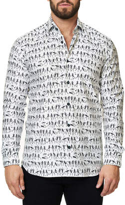 Maceoo Shaped-Fit Luxor Funky Skeleton Sport Shirt