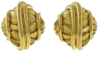 Henry Dunay 18K Yellow Gold Textured Shiny Domed Clip Post Earrings
