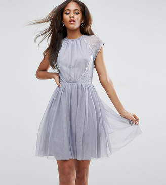 Asos Tall TALL PREMIUM Lace Tulle Mini Prom Dress