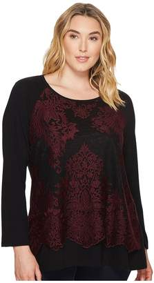 Karen Kane Plus Plus Size Lace Overlay Top Women's Clothing
