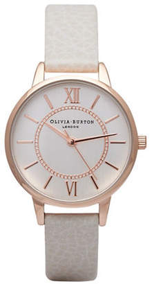 Olivia Burton Analog Wonderland Rose-Goldtone Leather Strap Watch