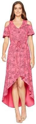 Mod-o-doc Printed Slick Jersey Cold Shoulder Cinch Waist Dress Women's Dress