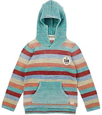 Scotch Shrunk KIDS' STRIPED SEED-STITCHED COTTON HOODIE