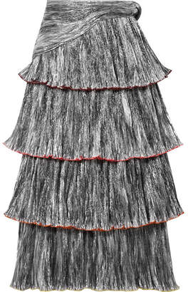 Rosie Assoulin Tiered Plissé-lamé Midi Skirt - Silver