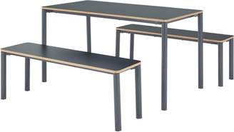 MADE Essentials Mino Dining Table and Set of 2 Benches, Grey