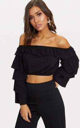 PrettyLittleThing Black Layered Frill Sleeve Bardot Crop Top