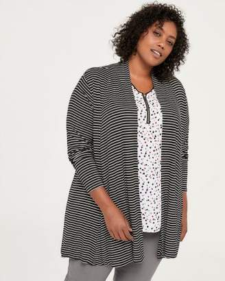Penningtons Striped Open Cardigan with Cascade Collar - In Every Story
