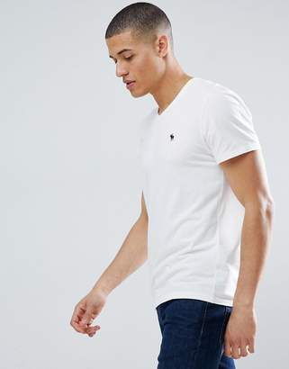 Abercrombie & Fitch Pop Icon v-neck t-shirt in white