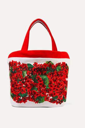 Dolce & Gabbana Escape Portofino Floral-print Cotton-blend Terry Tote - Red