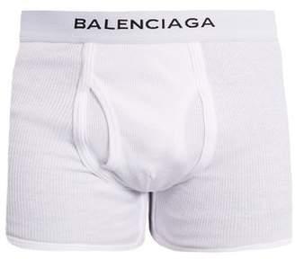 Balenciaga - Set Of Three Logo Embroidered Cotton Boxer Trunks - Mens - White