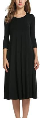YACUN Women Casual 3/4 Sleeve Flare Midi Cocktail Party Dress XL