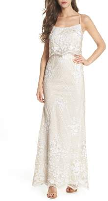 Adrianna Papell Sequin Popover Mermaid Gown
