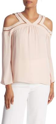 Ramy Brook Lex Cold Shoulder Sleeve Silk Blouse