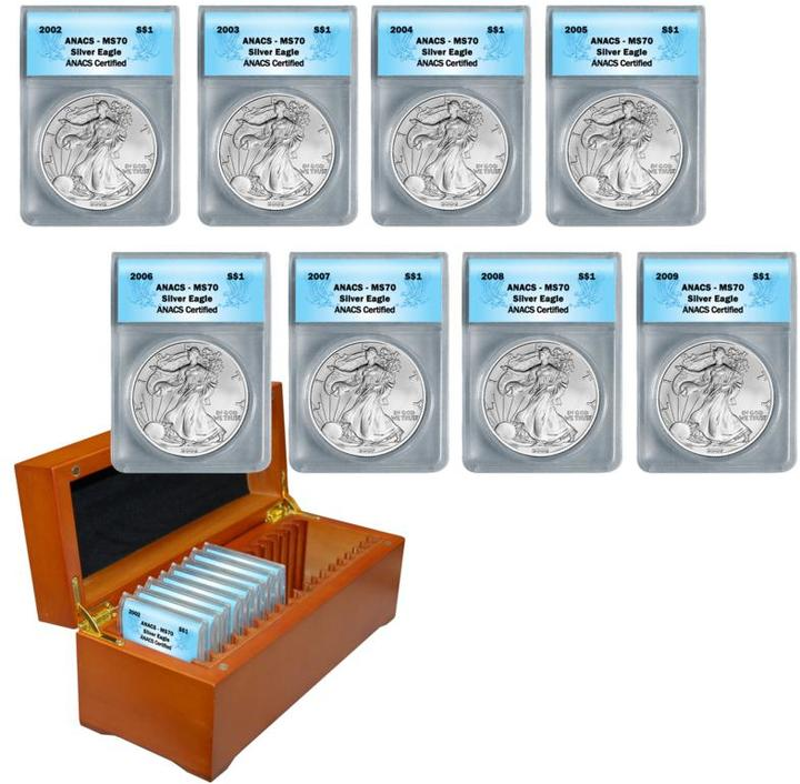 2002-2009 MS70 ANACS Silver Eagle Dollar 8-Coin Set