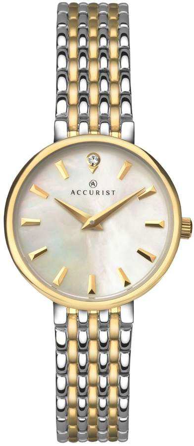 Accurist White Mother of Pearl Dial Two Tone Bracelet Ladies Watch