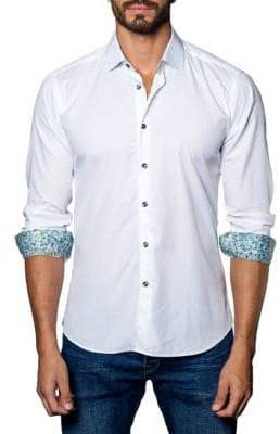 Jared Lang Trim-Fit Long-Sleeve Button-Down Shirt