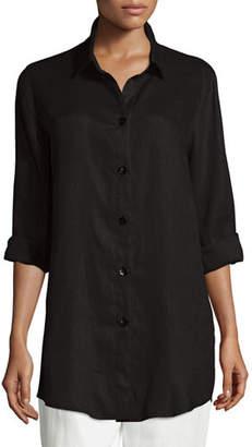 Caroline Rose Tissue Linen Boyfriend Shirt, Petite