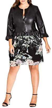 City Chic Darling Frill Faux Leather Jacket
