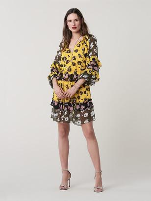 Diane von Furstenberg Haven Silk-Chiffon Drop-Waist Dress