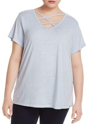 Andrew Marc Plus Short-Sleeve Marled Strappy-Neck Tee