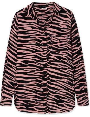 Ganni Zebra-print Crepe Shirt