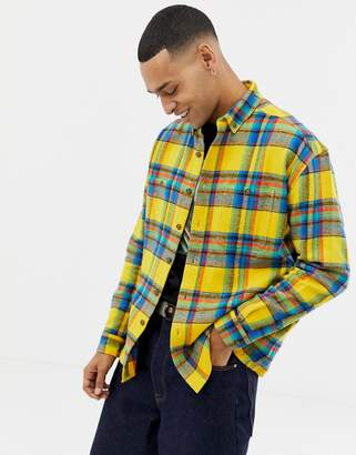 f85e827601 Asos Design DESIGN oversized check shirt in yellow with double pockets