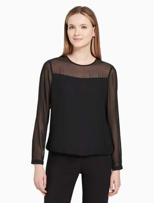 Calvin Klein pleated illusion long sleeve top