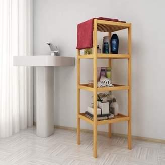 Bamboo Bathroom Shelf 4-Tier Layered Multifunctional Storage Rack Shelving RYSTE