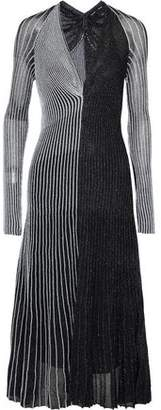 Proenza Schouler Metallic Striped Ribbed Stretch-Silk Midi Dress