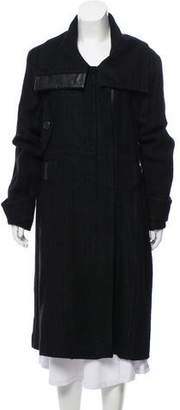 Barbara Bui Leather-Accented Wool Coat