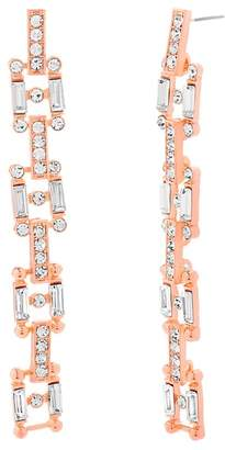 Steve Madden Crystal Glass Geometric Square Drop Earrings
