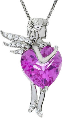 FINE JEWELRY Lab-Created Pink and White Sapphire Fairy Sterling Silver Pendant Necklace