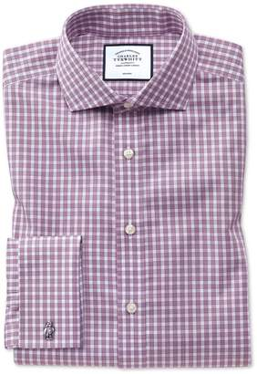 Charles Tyrwhitt Extra Slim Fit Non-Iron Twill Berry Gingham Cotton Dress Shirt French Cuff Size 15/32