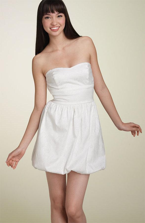 As U Wish Strapless Jacquard Bubble Dress (Juniors)