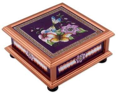 Sweet Refuge in Brown Floral Reverse Painted Glass Decorative Box in Brown
